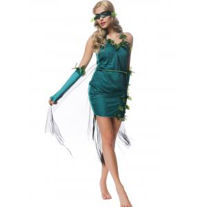 Halloween Halter Leaves Embellished Fairy Costume -