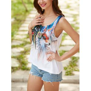 Fox Printed U Neck Tank Top - WHITE S