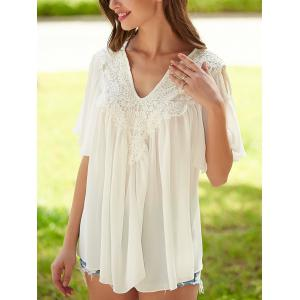 Crochet Cut Out Lace Splicing Blouse - WHITE XL