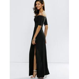 Off Shoulder Slit Maxi Prom Formal Dress - BLACK M