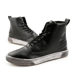 Lace-Up PU Leather Short Boots - BLACK 40