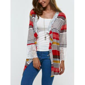 Lace Splicing Colorful Print Thin Cardigan - COLORMIX XL