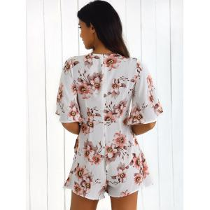 Front Tied Print Romper -
