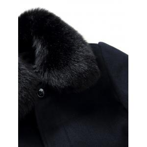 Detachable Faux Fur Turn-Down Collar Covered Button Coat -
