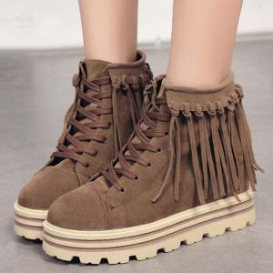 Hidden Wedge Fringe Lace Up Short Boots - DEEP BROWN 39