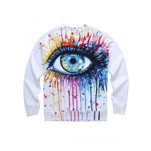 Dripping 3D Eyes Print Round Neck Long Sleeve Sweatshirt -