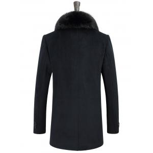 Detachable Faux Fur Turn-Down Collar Covered Buttons Coat -