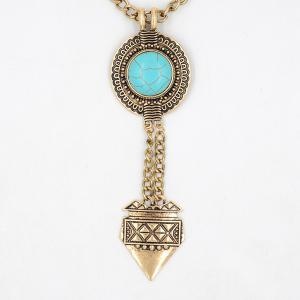 Faux Turquoise Round Sweater Chain -