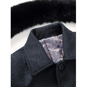Detachable Faux Fur Turn-Down Collar Covered Buttons Vintage Coat -