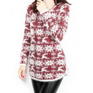 Snowflake and Deer Print Long Christmas Sweater -