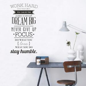 Work Hard Encouragement Proverb Study Room Wall Sticker -