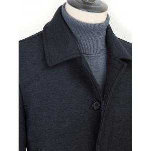 Turn-Down Collar Covered Button Woolen Coat -