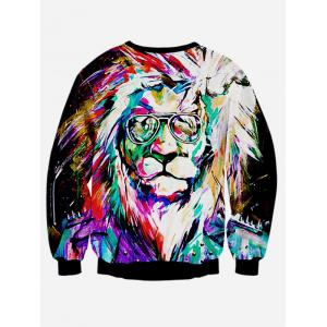Colorful Lion 3D Print Long Sleeve Sweatshirt - BLACK XL