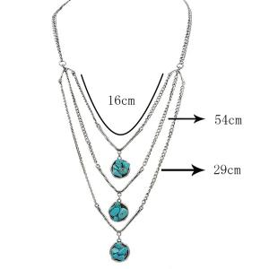 Layered Chain Faux Turquoise Sweater Chain - SILVER
