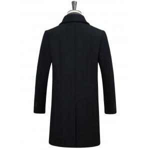 Covered Button Longline Woolen Coat -