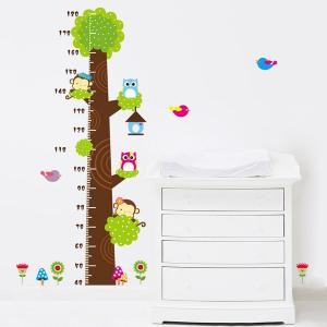 Owl and Monkey Cartoon Height Measurement Bedroom Wall Sticker -