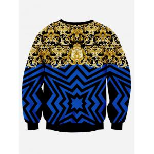 Ornate Print Long Sleeve Casual Sweatshirt - BLUE L