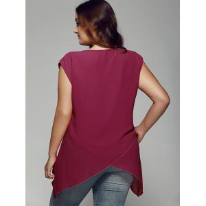 Plus Size Asymmetrical Chiffon Blouse - WINE RED XL
