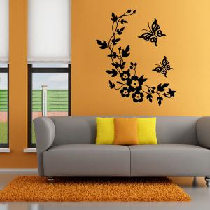 ... Flower Rattan Butterfly Wall Art Sticker For Toilet ...