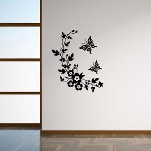 Butterfly Wall Art Impressive Black Flower Rattan Butterfly Wall Art  Sticker For Toilet Design Decoration