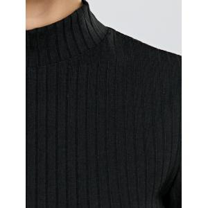 Turtleneck Half Sleeve Mini Knit Dress - BLACK XL