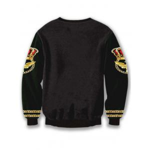 3D Printed Crew Neck Long Sleeve Sweatshirt - BLACK XL