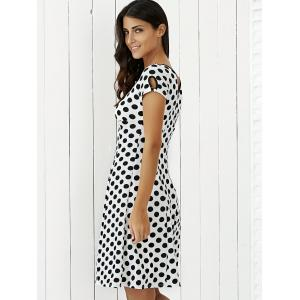 Keyhole Polka Dot Print Short Sleeve A Line Dress - WHITE L