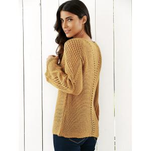 Bell Sleeves Openwork Knitted Sweater - LIGHT KHAKI ONE SIZE