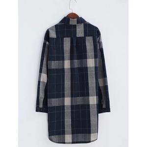 Plaid Front Pockets Long Shirt -