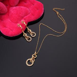 A Suit of Circle Hollow Out Necklace and Earrings - GOLDEN