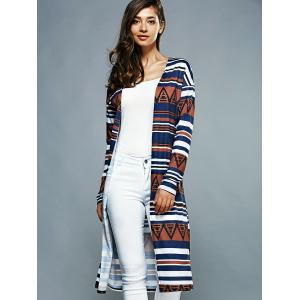 Collarless Long Sleeves Striped Cardigan -