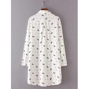 Buttoned Kitten Print Long Shirt -