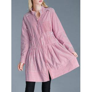 Pinstriped Loose-Fitting Pocket Design Blouse -