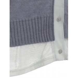 Trumpet Sleeves Patchwork Knitted Cardigan -