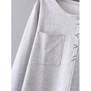 Trimming Double Pockets T-Shirt - GRAY 4XL