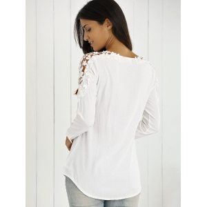 Long Sleeves Guipure Hollow Out Blouse -