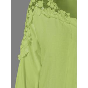Long Sleeves Guipure Hollow Out Blouse - CELADON M