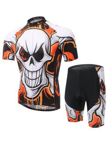 Unique Skull Print Cycling Zip-Up T-Shirt and Shorts Twinset