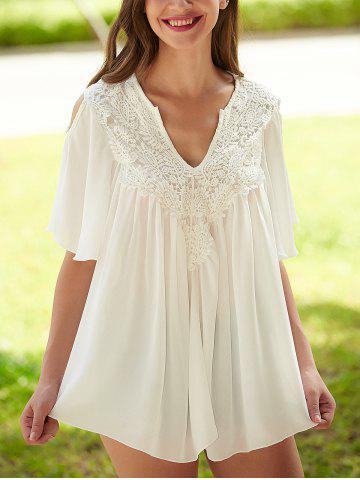 Latest Crochet Cut Out Lace Splicing Blouse WHITE XL
