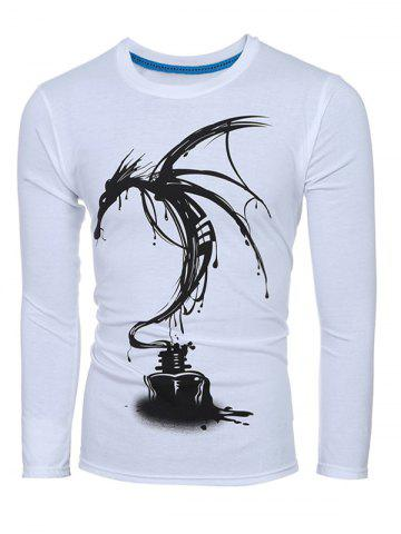 Store 3D Ink Painting Print Round Neck Long Sleeve T-Shirt