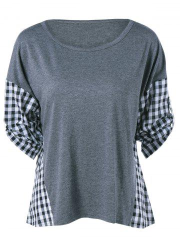 Plaid Pattern Spliced Blouse - Gray - Xl