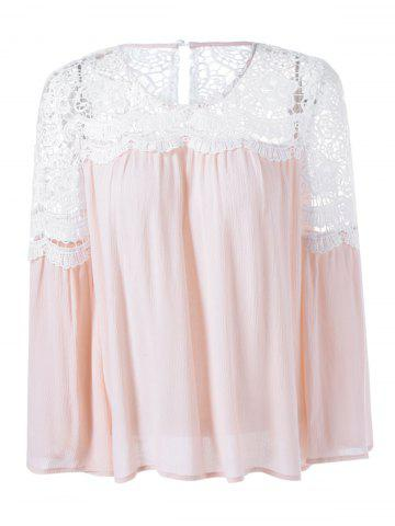 Latest Lace Patchwork Bell Sleeve Smock Blouse