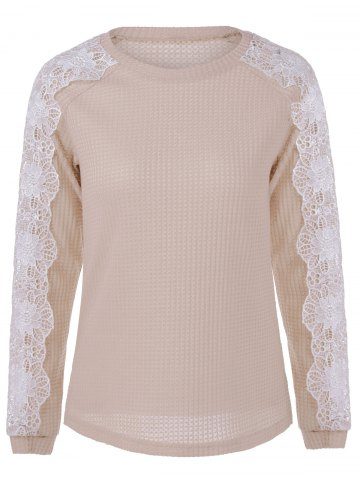 Shop Lace Patchwork Sweater LIGHT APRICOT S