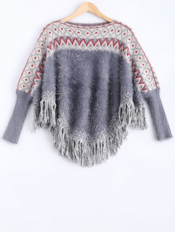 New Batwing Sleeves Ribbed Fringed Pullover