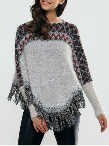 Best Batwing Sleeves Ribbed Fringed Pullover