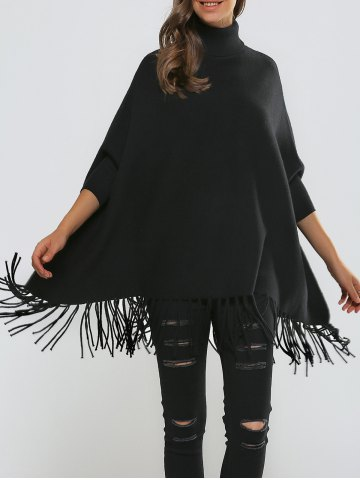 Online Dolman Sleeves Fringed Loose Fitting Pullover