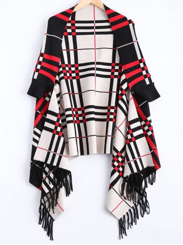 Affordable Checkered Asymmetrical Fringed Cardigan