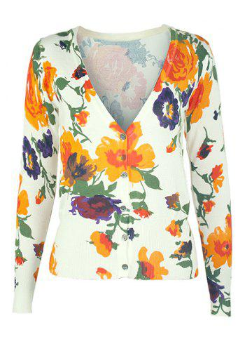 Chic V-Neck Floral Buttoned Cardigan