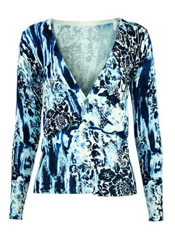 V Neck Printed Knitted Cardigan