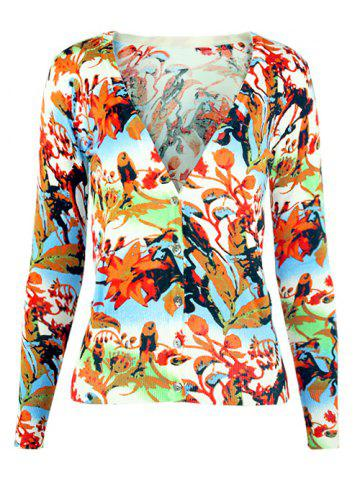 Unique V-Neck Birdie and Floral Knitted Cardigan